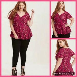 TORRID • butterfly floral empire waist blouse